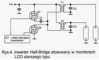 inwerter half bridge w monitorach lcd starszego typu
