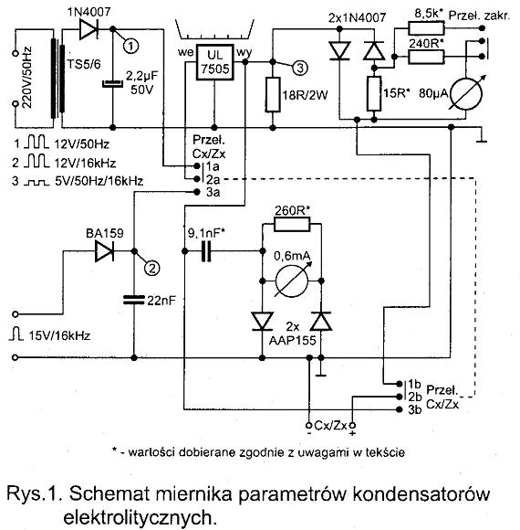 schemat miernika parametrów kondensatorów elektrolitycznych