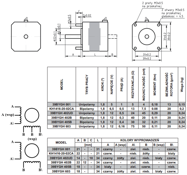 schemat silnika krokowego dwufazowego seria 39bygh