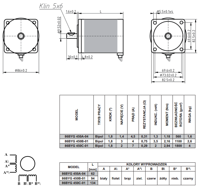 schemat silników krokowych 86byg450