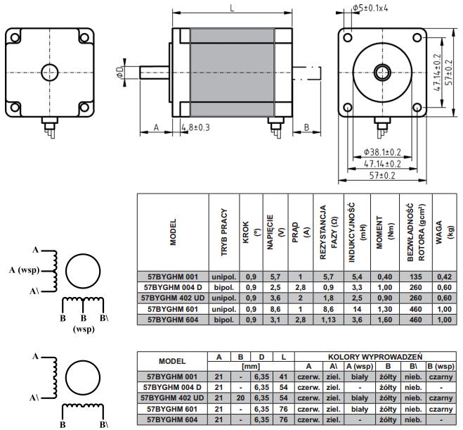 schemat silników krokowych dwufazowych 57byghm