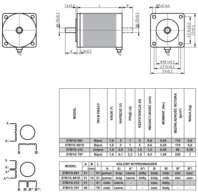 schemat silników krokowych dwufazowych 57 byg