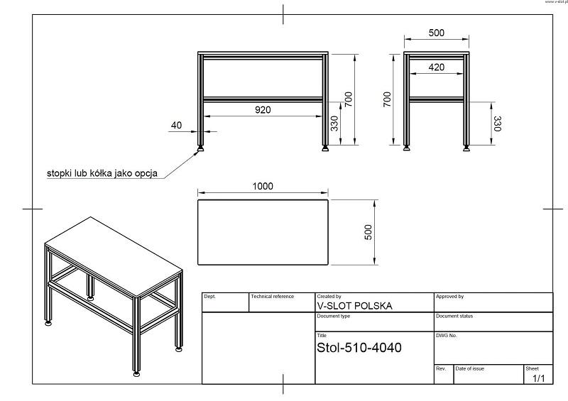 Konstrukcja stołu z profili aluminiowych