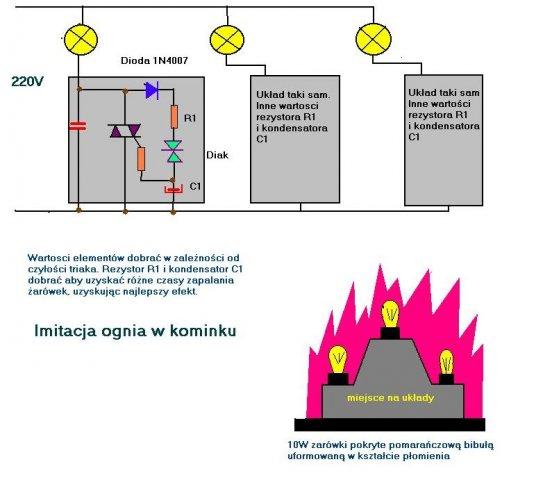 schemat imitacja ognia w kominku
