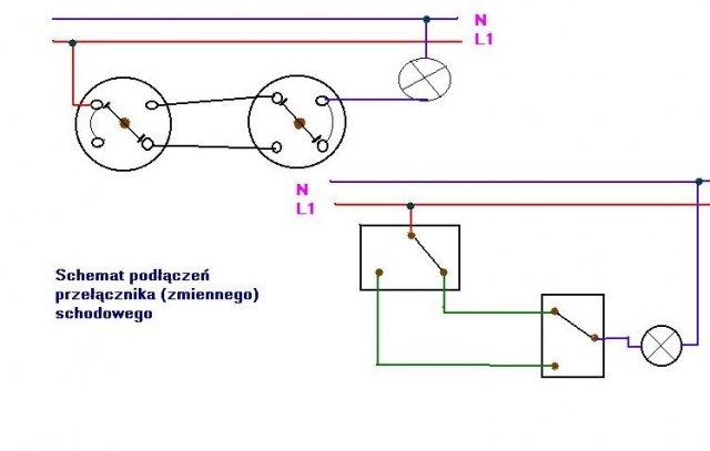 schemat podłączeń przełącznika zmiennego schodowego