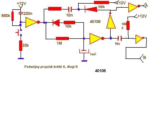 schemat podwójny przycisk krótki a długi b