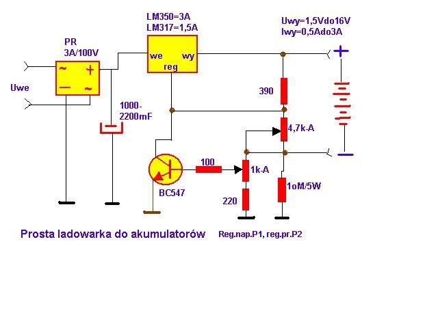 schemat prosta ładowarka do akumulatorów
