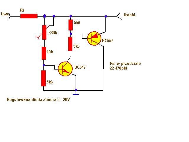 schemat regulowana dioda zenera