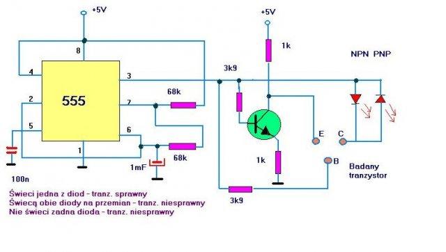 schemat tester tranzystorów