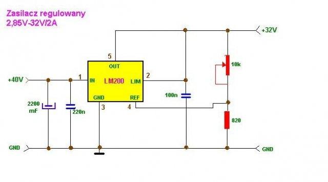 schemat zasilacz regulowany 2 85 32v 2a