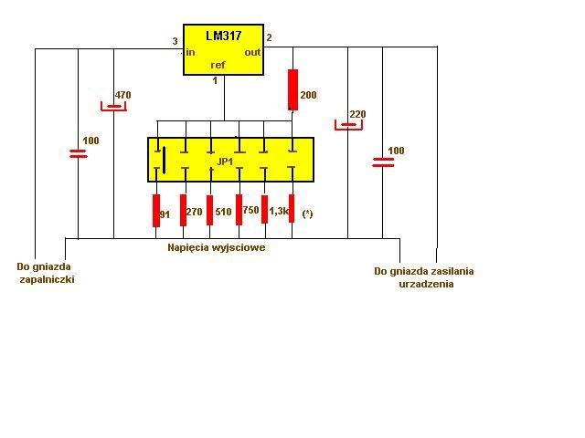 schemat zasilacz regulowany lm 317