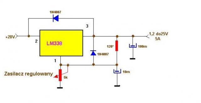 schemat zasilacz regulowany lm338